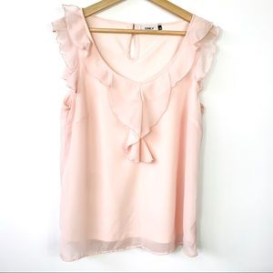 Only   Light Pink Ruffled detail Top in Small